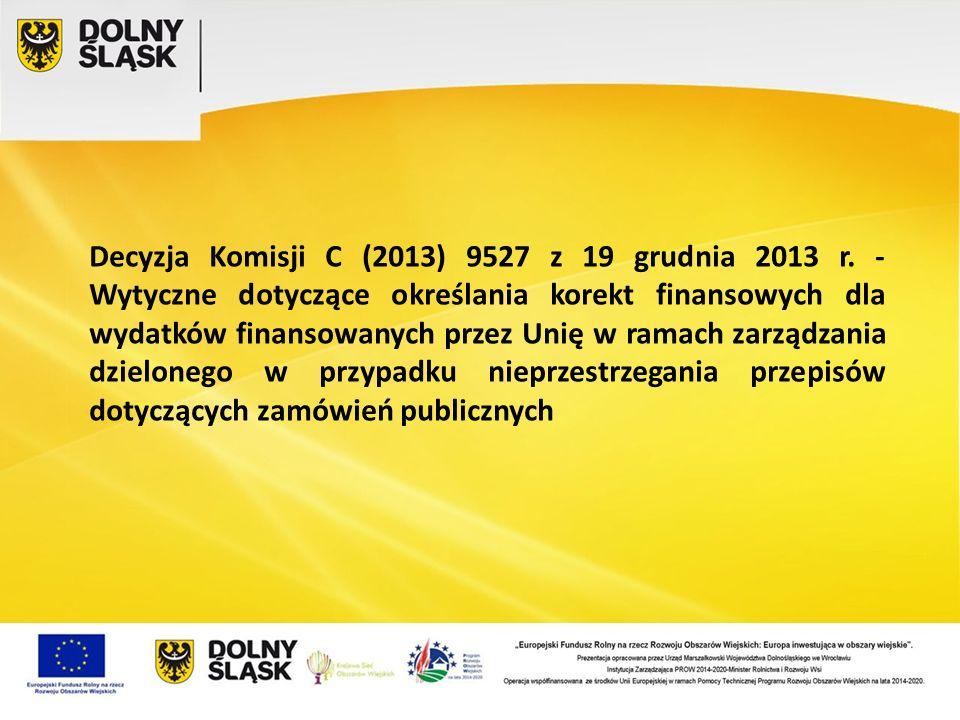 Decyzja Komisji C (2013) 9527 z 19 grudnia 2013 r. - Wytyczne dotyczące określania korekt finansowych dla wydatków finansowanych przez Unię w ramach z