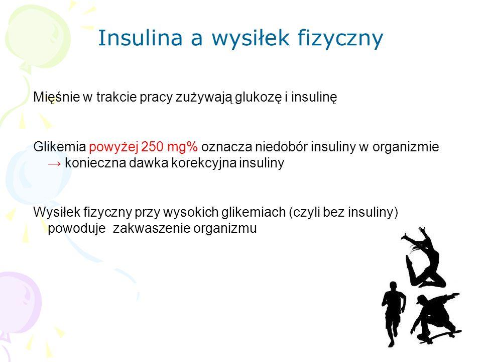 Mięśnie w trakcie pracy zużywają glukozę i insulinę Glikemia powyżej 250 mg% oznacza niedobór insuliny w organizmie → konieczna dawka korekcyjna insuliny Wysiłek fizyczny przy wysokich glikemiach (czyli bez insuliny) powoduje zakwaszenie organizmu Insulina a wysiłek fizyczny