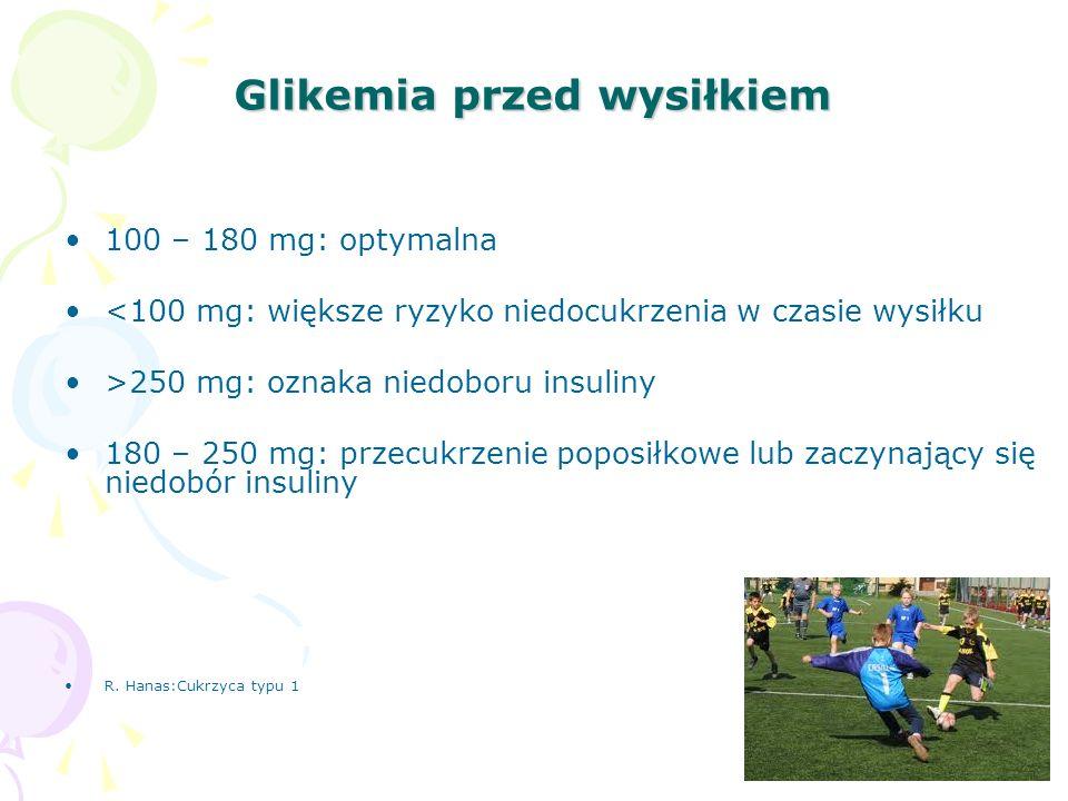 Glikemia przed wysiłkiem 100 – 180 mg: optymalna <100 mg: większe ryzyko niedocukrzenia w czasie wysiłku >250 mg: oznaka niedoboru insuliny 180 – 250