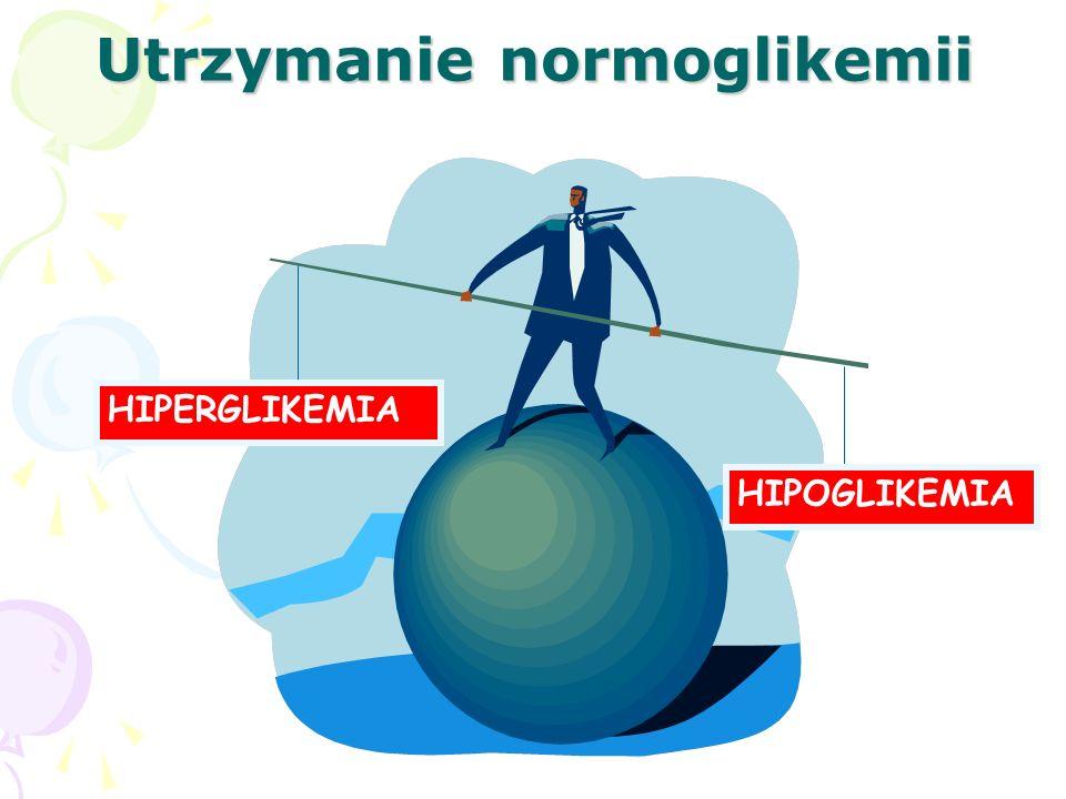 Utrzymanie normoglikemii HIPERGLIKEMIA HIPOGLIKEMIA
