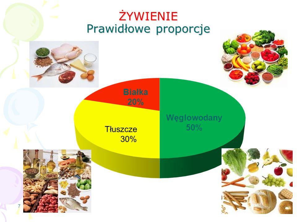 ŻYWIENIE Prawidłowe proporcje 7 Węglowodany 50% Białka 20%