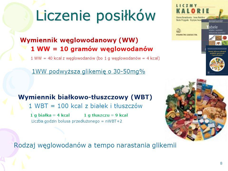 Liczenie posiłków Wymiennik węglowodanowy (WW) 1 WW = 10 gramów węglowodanów 1 WW = 40 kcal z węglowodanów (bo 1 g węglowodanów = 4 kcal) 1WW podwyższa glikemię o 30-50mg% Wymiennik białkowo-tłuszczowy (WBT) 1 WBT = 100 kcal z białek i tłuszczów 1 g białka = 4 kcal 1 g tłuszczu = 9 kcal Liczba godzin bolusa przedłużonego = nWBT+2 Rodzaj węglowodanów a tempo narastania glikemii 8