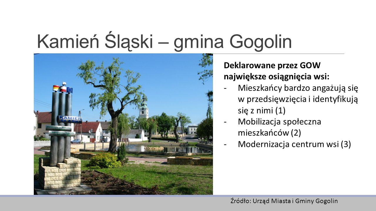 Kamień Śląski – gmina Gogolin Deklarowane przez GOW największe osiągnięcia wsi: -Mieszkańcy bardzo angażują się w przedsięwzięcia i identyfikują się z nimi (1) -Mobilizacja społeczna mieszkańców (2) -Modernizacja centrum wsi (3) Źródło: Urząd Miasta i Gminy Gogolin