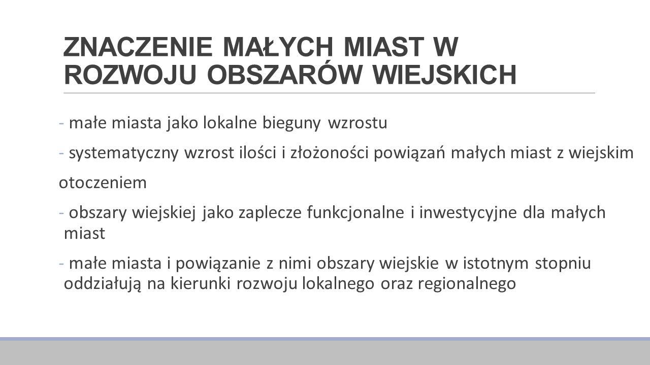 ZNACZENIE MAŁYCH MIAST W ROZWOJU OBSZARÓW WIEJSKICH Rozwój obszarów wiejskich Paradygmat wielofunkcyjny Szybki rozwój i modernizacja, dywersyfikacja ekonomiczna Polska Paradygmat rewitalizacyjny Długotrwały proces rozwoju w oparciu o lokalne zasoby Kraje Zachodu