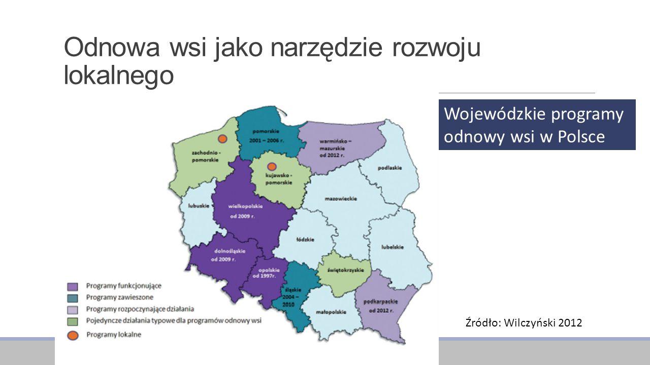 Odnowa wsi jako narzędzie rozwoju lokalnego Wojewódzkie programy odnowy wsi w Polsce Źródło: Wilczyński 2012
