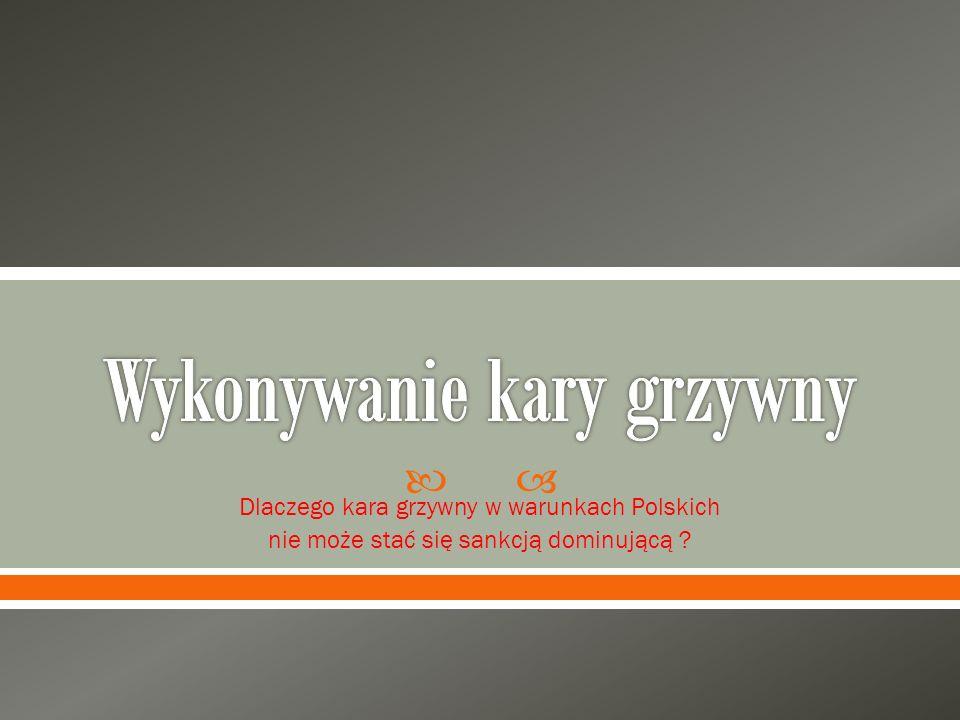  Dlaczego kara grzywny w warunkach Polskich nie może stać się sankcją dominującą ?