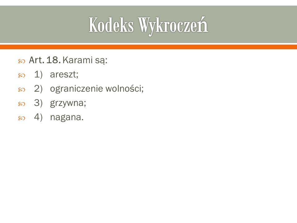  Art. 18. Karami są:  1) areszt;  2) ograniczenie wolności;  3) grzywna;  4) nagana.