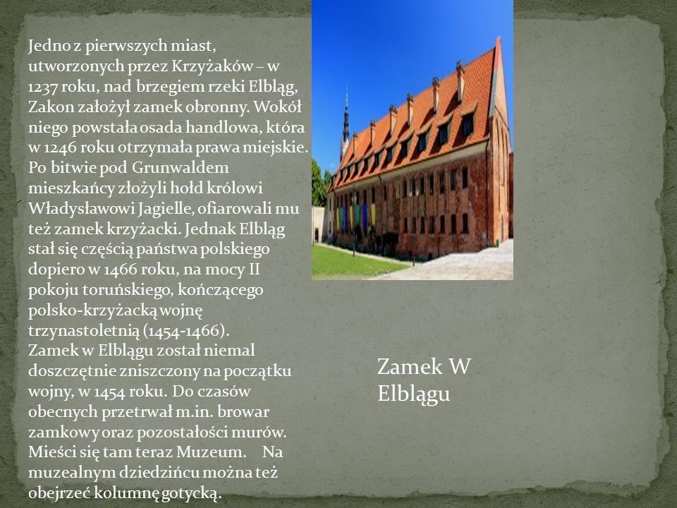 Jedno z pierwszych miast, utworzonych przez Krzyżaków – w 1237 roku, nad brzegiem rzeki Elbląg, Zakon założył zamek obronny.