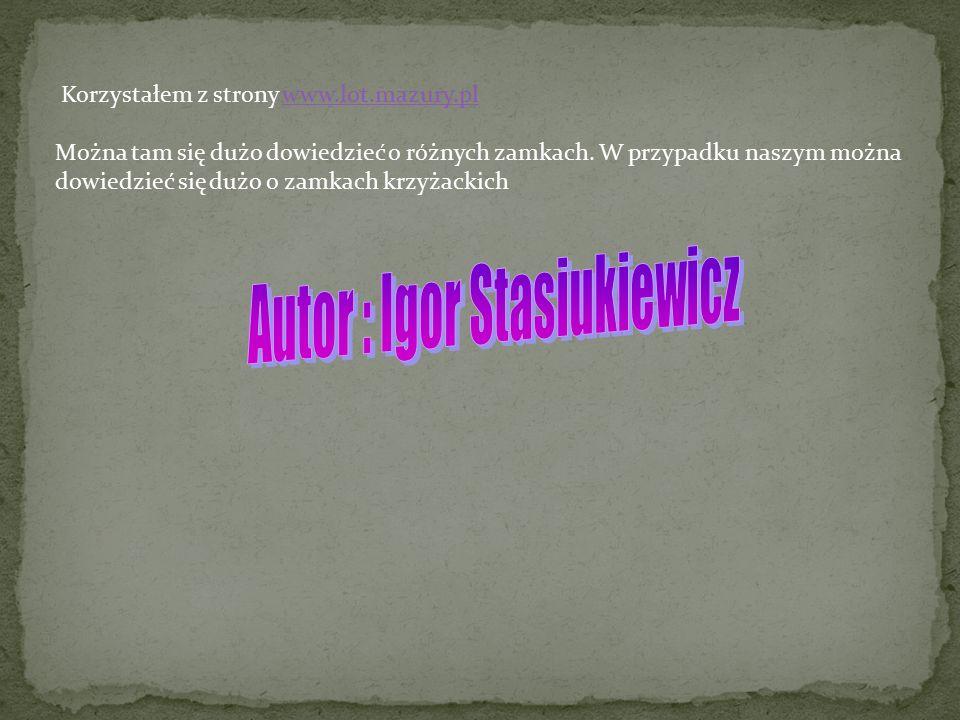 Korzystałem z strony www.lot.mazury.plwww.lot.mazury.pl Można tam się dużo dowiedzieć o różnych zamkach. W przypadku naszym można dowiedzieć się dużo