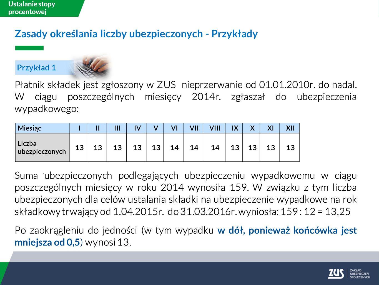 Ustalanie stopy procentowej Płatnik składek jest zgłoszony w ZUS nieprzerwanie od 01.01.2010r.