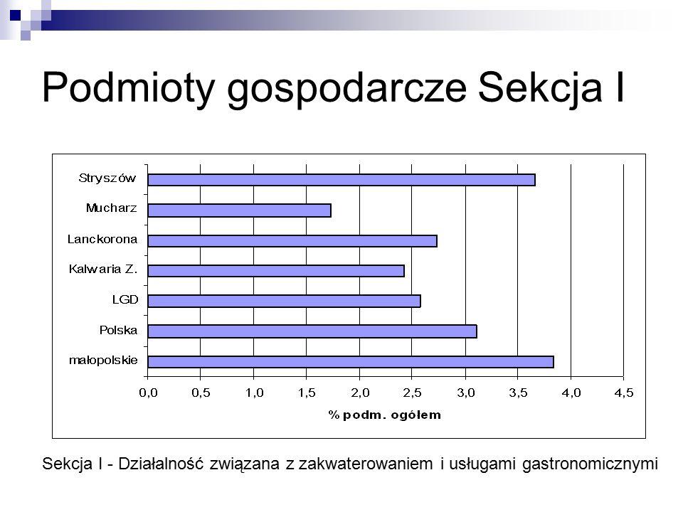 Podmioty gospodarcze Sekcja I Sekcja I - Działalność związana z zakwaterowaniem i usługami gastronomicznymi