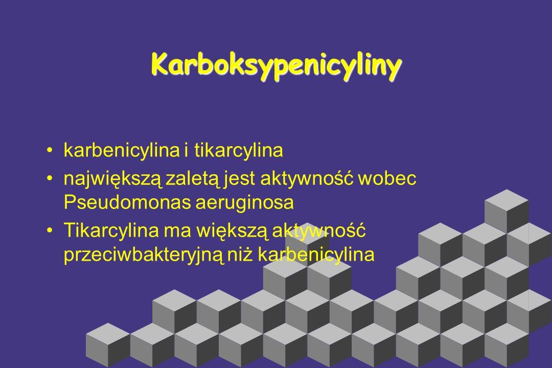 Aminopenicyliny Ampicylina, amoksycylina Zakres działania ~ benzylpenicylina + pałeczki jelitowe nie wytwarzające β-laktamazy, słabiej działają na pac