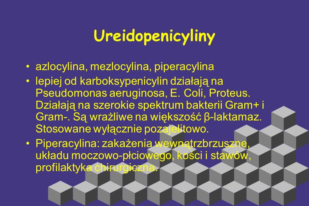 Karboksypenicyliny karbenicylina i tikarcylina największą zaletą jest aktywność wobec Pseudomonas aeruginosa Tikarcylina ma większą aktywność przeciwb