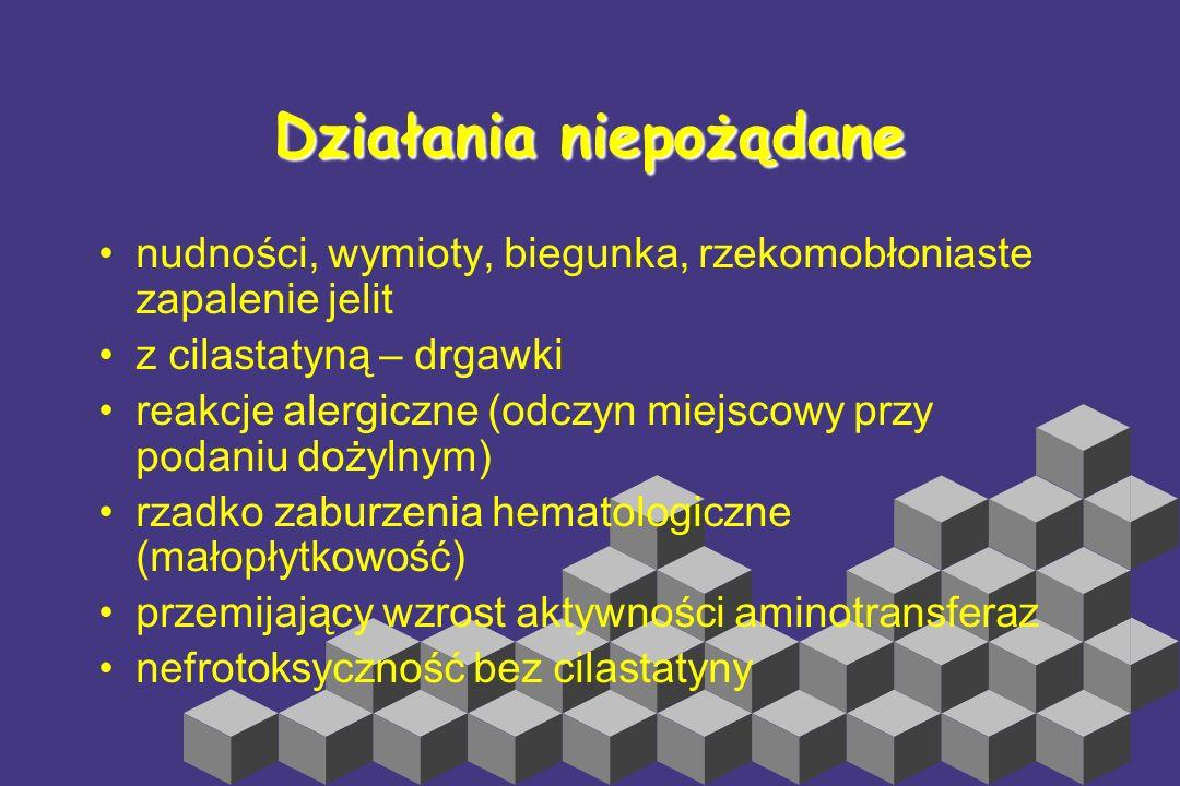 Imipenem ziarenkowce Gram+, Listeria, Enterococcus, Nocardia, Legionella, Neisserie, H. Influenzae, Enterobacetriaceae, beztlenowce (B.fragilis). MRSA