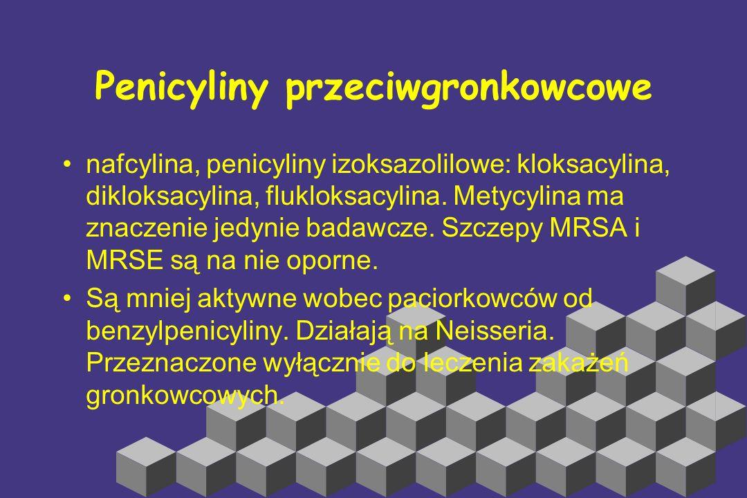 Penicyliny naturalne Benzylpenicylina (penicylina G), fenoksymetylpenicylina (penicylina V), feneticylina. Działają na: Paciorkowce grupy A, B, zielen