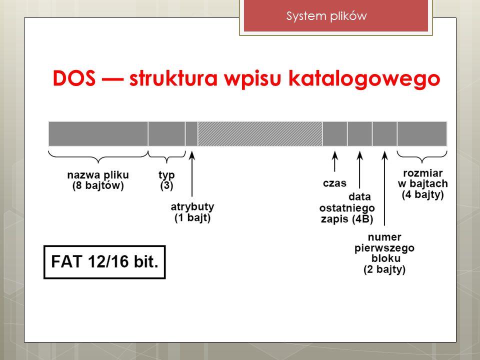 DOS — struktura wpisu katalogowego System plików