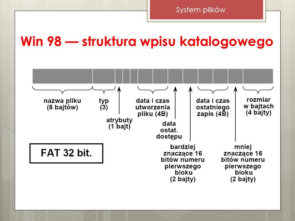 Win 98 — struktura wpisu katalogowego System plików