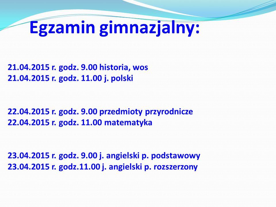 Egzamin gimnazjalny: 21.04.2015 r. godz. 9.00 historia, wos 21.04.2015 r.