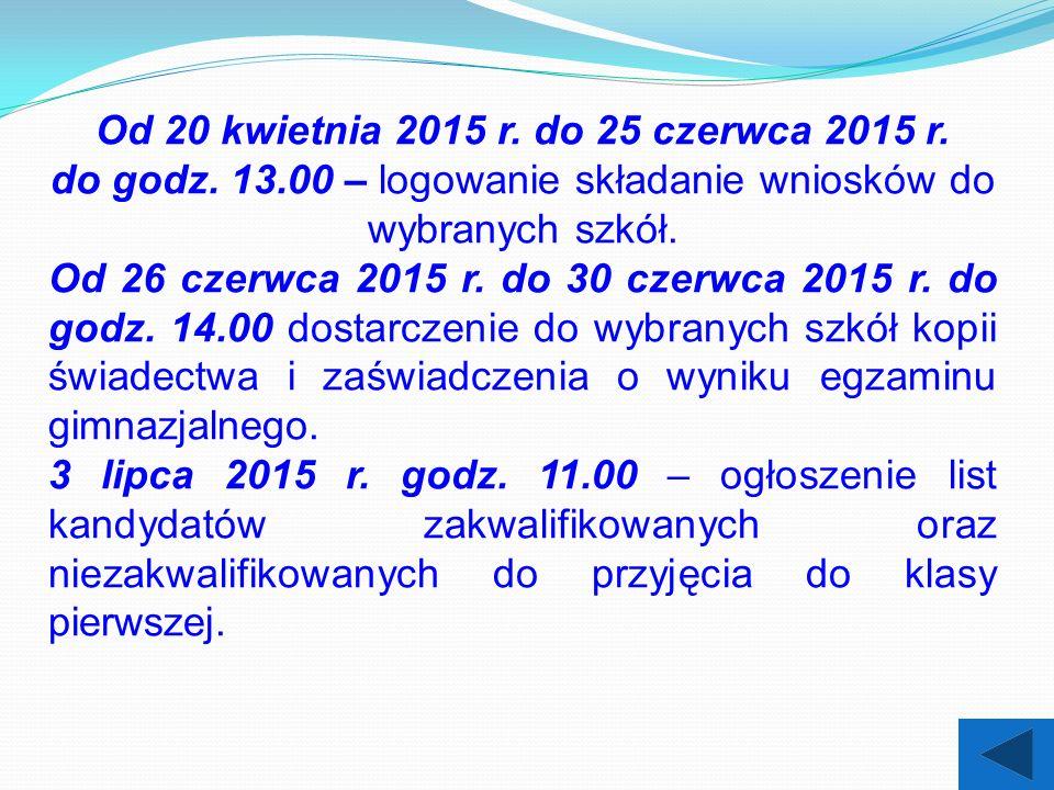 Od 20 kwietnia 2015 r. do 25 czerwca 2015 r. do godz.