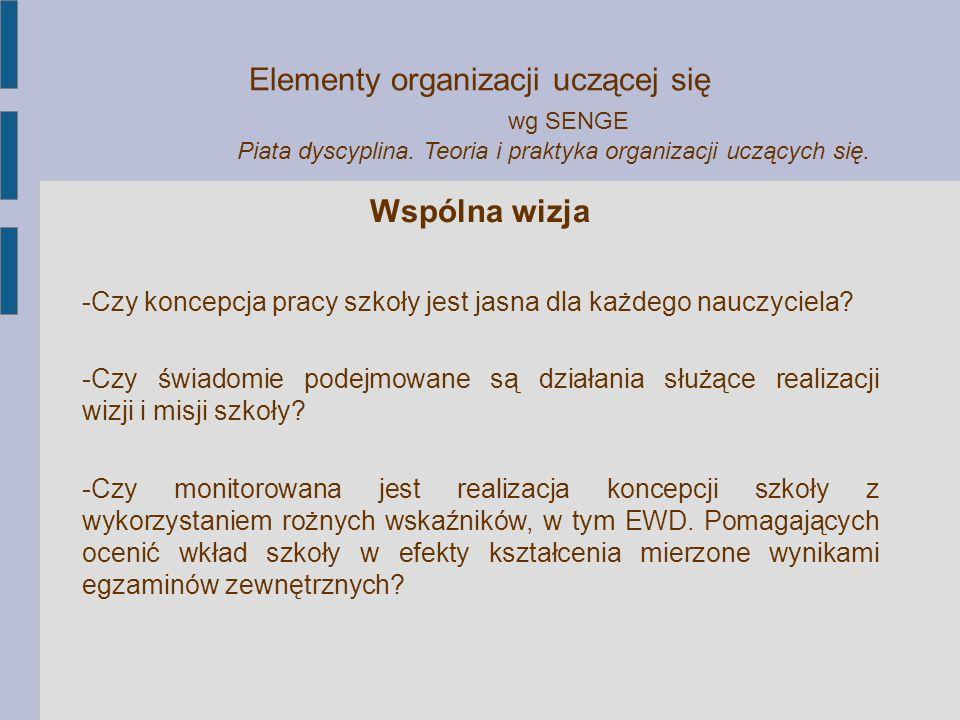 Elementy organizacji uczącej się wg SENGE Piata dyscyplina. Teoria i praktyka organizacji uczących się. Wspólna wizja -Czy koncepcja pracy szkoły jest