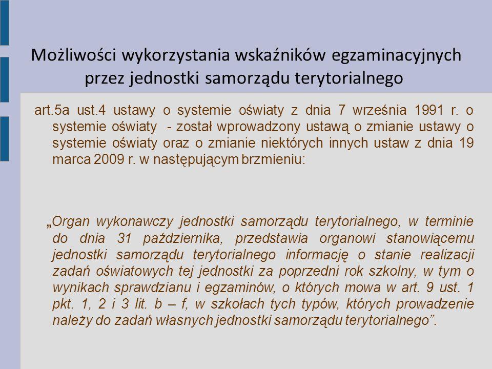 Możliwości wykorzystania wskaźników egzaminacyjnych przez jednostki samorządu terytorialnego art.5a ust.4 ustawy o systemie oświaty z dnia 7 września
