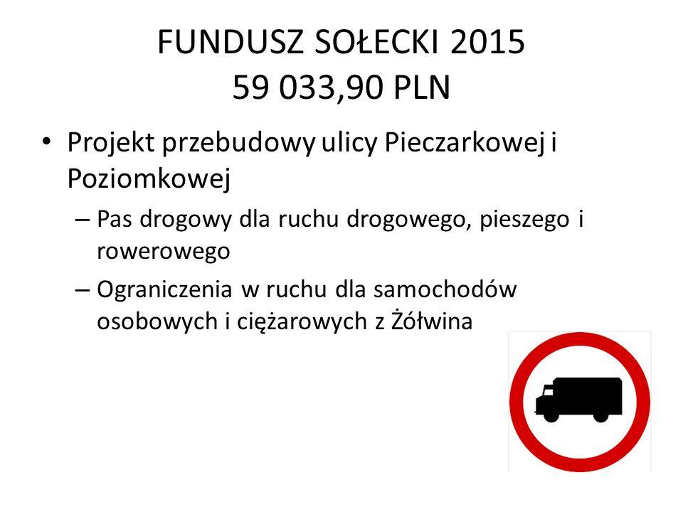FUNDUSZ SOŁECKI 2015 59 033,90 PLN Projekt przebudowy ulicy Pieczarkowej i Poziomkowej – Pas drogowy dla ruchu drogowego, pieszego i rowerowego – Ograniczenia w ruchu dla samochodów osobowych i ciężarowych z Żółwina