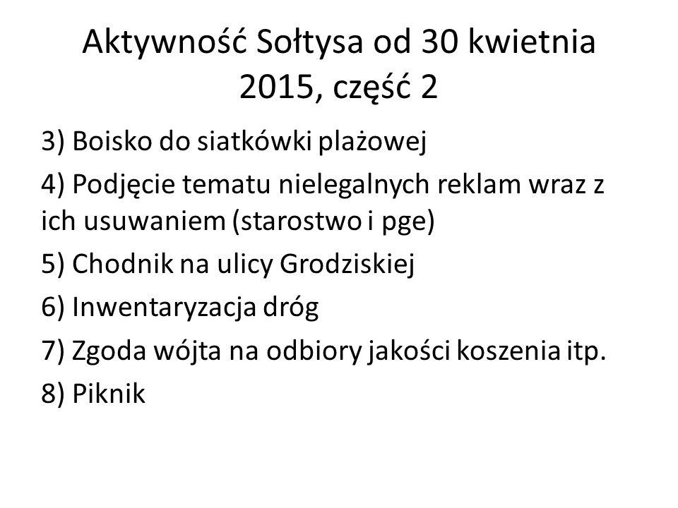 Aktywność Sołtysa od 30 kwietnia 2015, część 2 3) Boisko do siatkówki plażowej 4) Podjęcie tematu nielegalnych reklam wraz z ich usuwaniem (starostwo