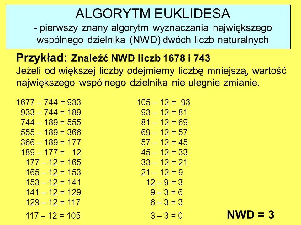 ALGORYTM EUKLIDESA - pierwszy znany algorytm wyznaczania największego wspólnego dzielnika (NWD) dwóch liczb naturalnych Przykład: Znaleźć NWD liczb 16