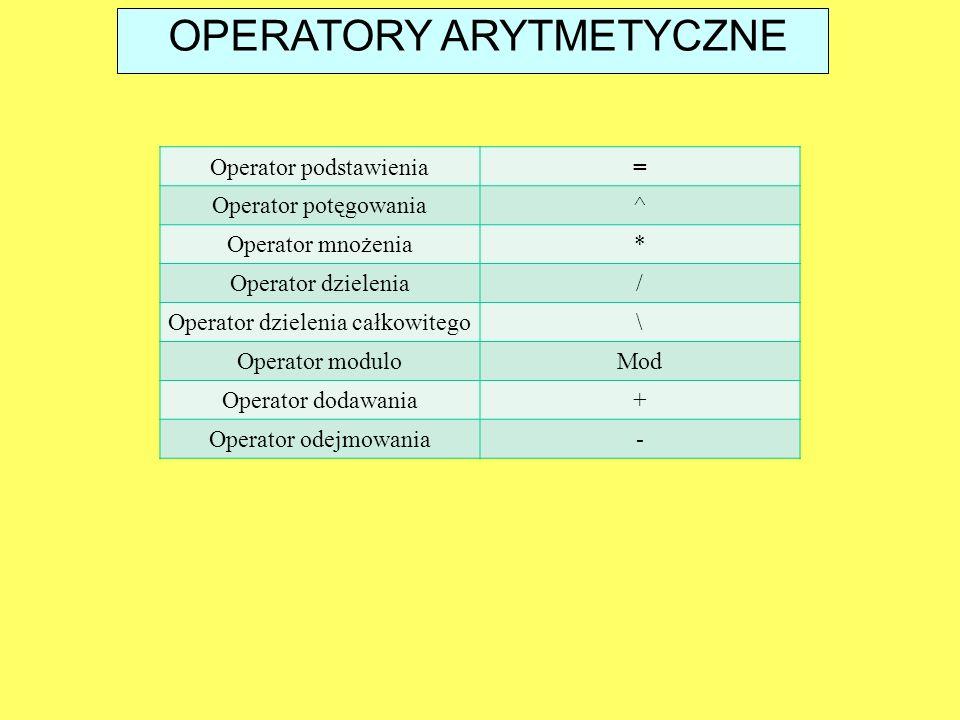 OPERATORY ARYTMETYCZNE Operator podstawienia= Operator potęgowania^ Operator mnożenia* Operator dzielenia/ Operator dzielenia całkowitego\ Operator mo