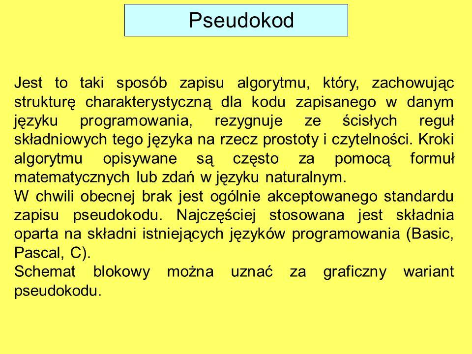 Pseudokod Jest to taki sposób zapisu algorytmu, który, zachowując strukturę charakterystyczną dla kodu zapisanego w danym języku programowania, rezygn