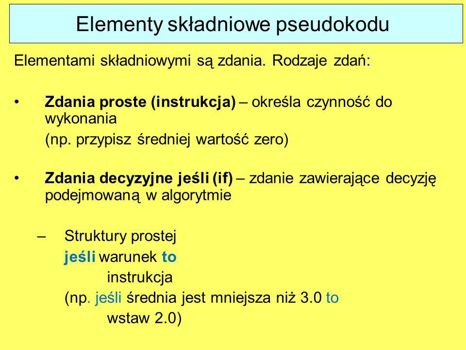 Elementy składniowe pseudokodu Zdania decyzyjne jeśli (if) – zdanie zawierające decyzję podejmowaną w algorytmie –Struktury prostej jeśli warunek to i