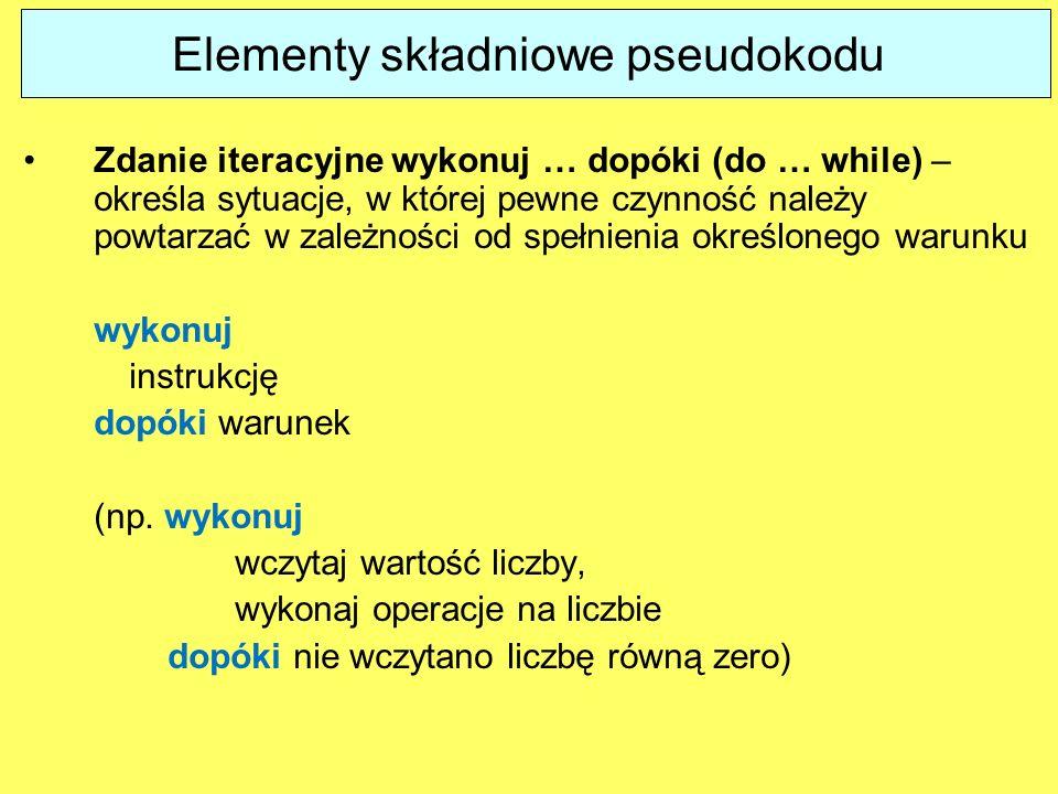 Zdanie iteracyjne wykonuj … dopóki (do … while) – określa sytuacje, w której pewne czynność należy powtarzać w zależności od spełnienia określonego wa