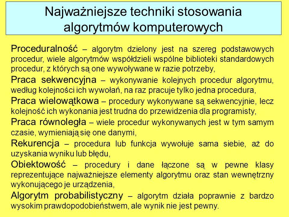 Proceduralność – algorytm dzielony jest na szereg podstawowych procedur, wiele algorytmów współdzieli wspólne biblioteki standardowych procedur, z któ