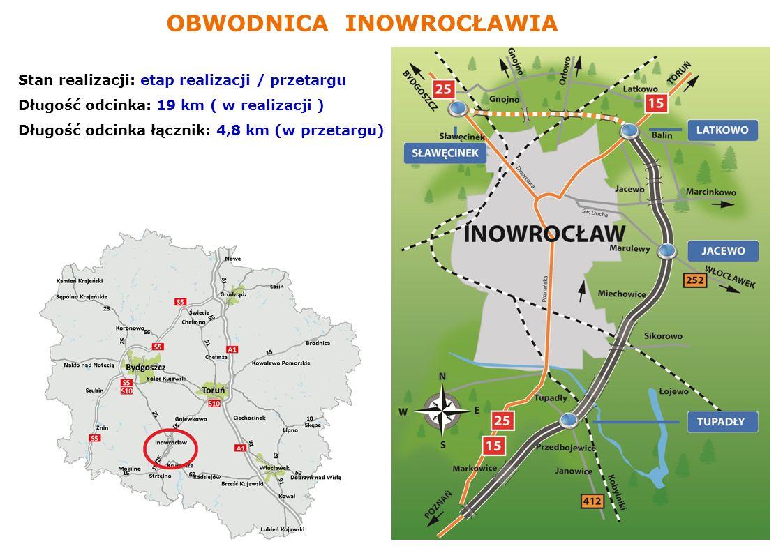 www.gddkia.gov.pl Stan realizacji: etap realizacji / przetargu Długość odcinka: 19 km ( w realizacji ) Długość odcinka łącznik: 4,8 km (w przetargu) O