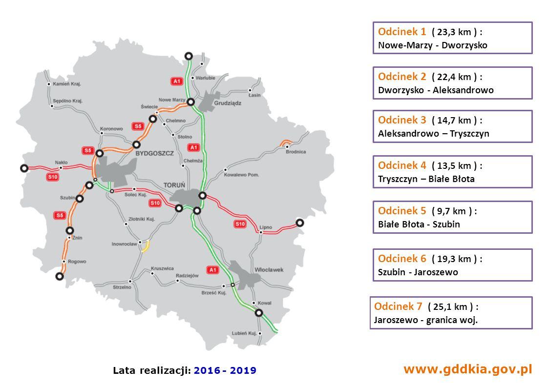 www.gddkia.gov.pl Odcinek 1 ( 23,3 km ) : Nowe-Marzy - Dworzysko Odcinek 2 ( 22,4 km ) : Dworzysko - Aleksandrowo Odcinek 3 ( 14,7 km ) : Aleksandrowo