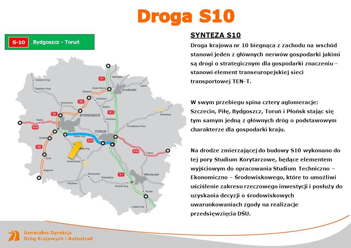www.gddkia.gov.pl SYNTEZA S10 Droga krajowa nr 10 biegnąca z zachodu na wschód stanowi jeden z głównych nerwów gospodarki jakimi są drogi o strategicz