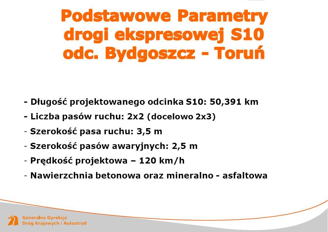 www.gddkia.gov.pl RAPORT ROCZNY 2011 - Długość projektowanego odcinka S10: 50,391 km - Liczba pasów ruchu: 2x2 (docelowo 2x3) - Szerokość pasa ruchu: