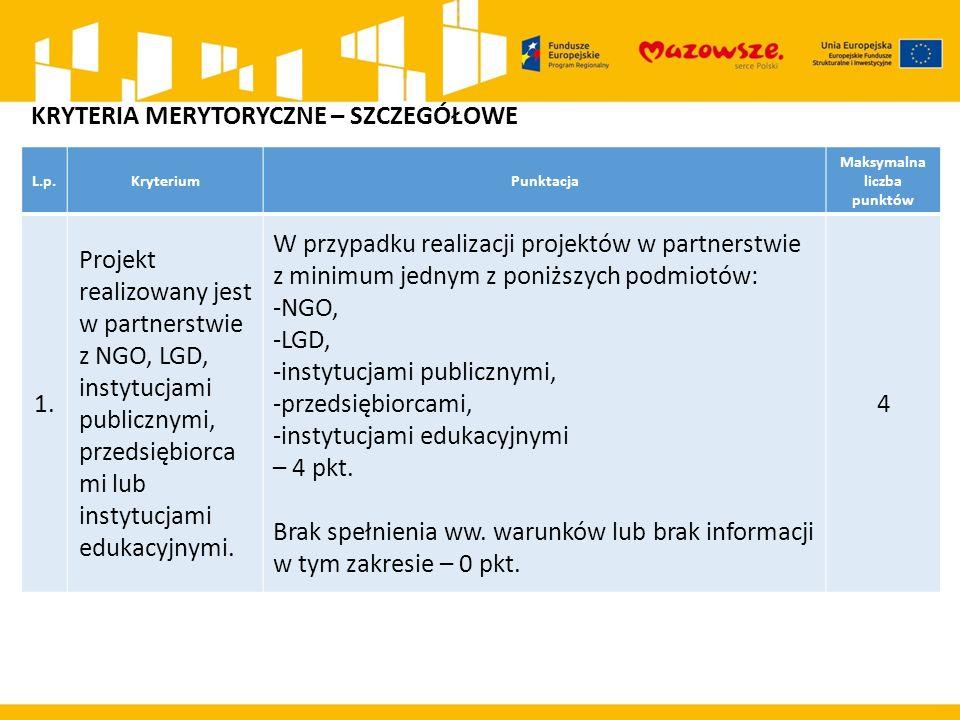 L.p.KryteriumPunktacja Maksymalna liczba punktów 1.