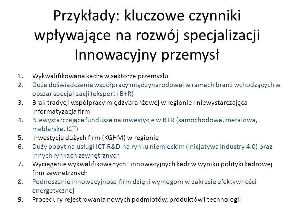 Przykłady: kluczowe czynniki wpływające na rozwój specjalizacji Innowacyjny przemysł 1.Wykwalifikowana kadra w sektorze przemysłu 2.Duże doświadczenie