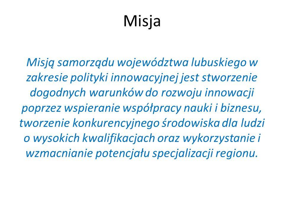 Misja Misją samorządu województwa lubuskiego w zakresie polityki innowacyjnej jest stworzenie dogodnych warunków do rozwoju innowacji poprzez wspieran