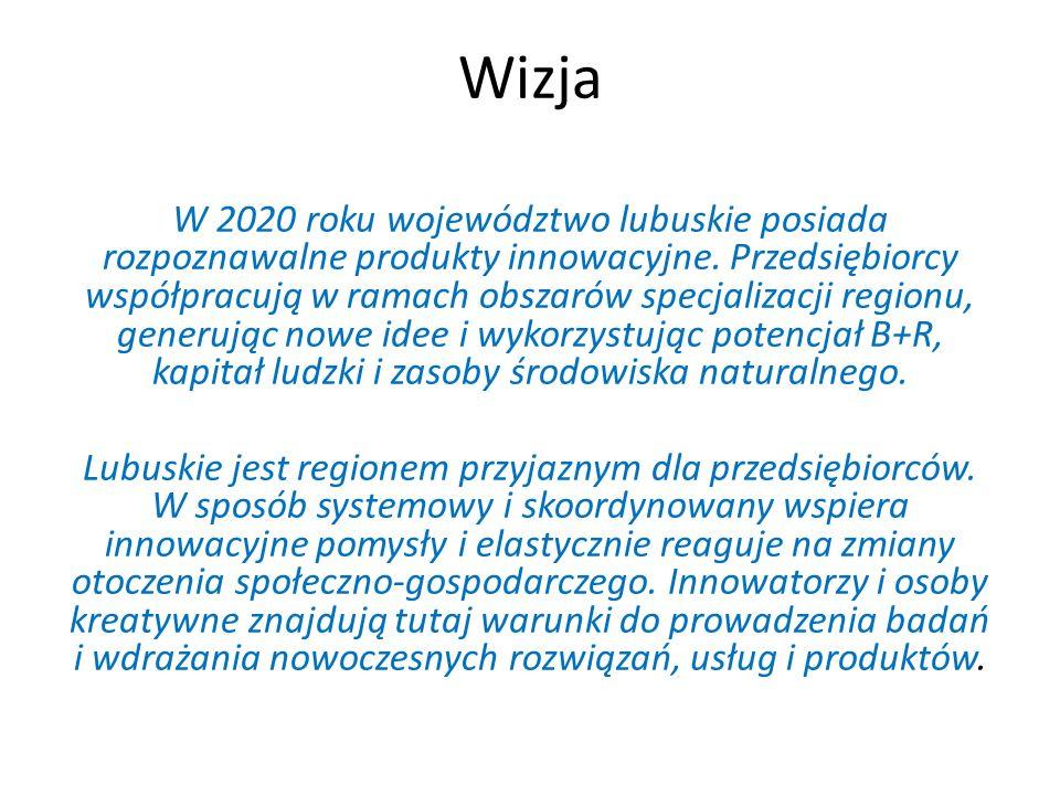 Wizja W 2020 roku województwo lubuskie posiada rozpoznawalne produkty innowacyjne. Przedsiębiorcy współpracują w ramach obszarów specjalizacji regionu