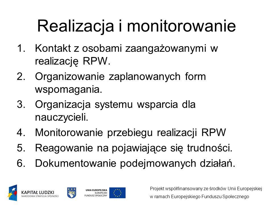 Realizacja i monitorowanie Projekt współfinansowany ze środków Unii Europejskiej w ramach Europejskiego Funduszu Społecznego 1.Kontakt z osobami zaangażowanymi w realizację RPW.
