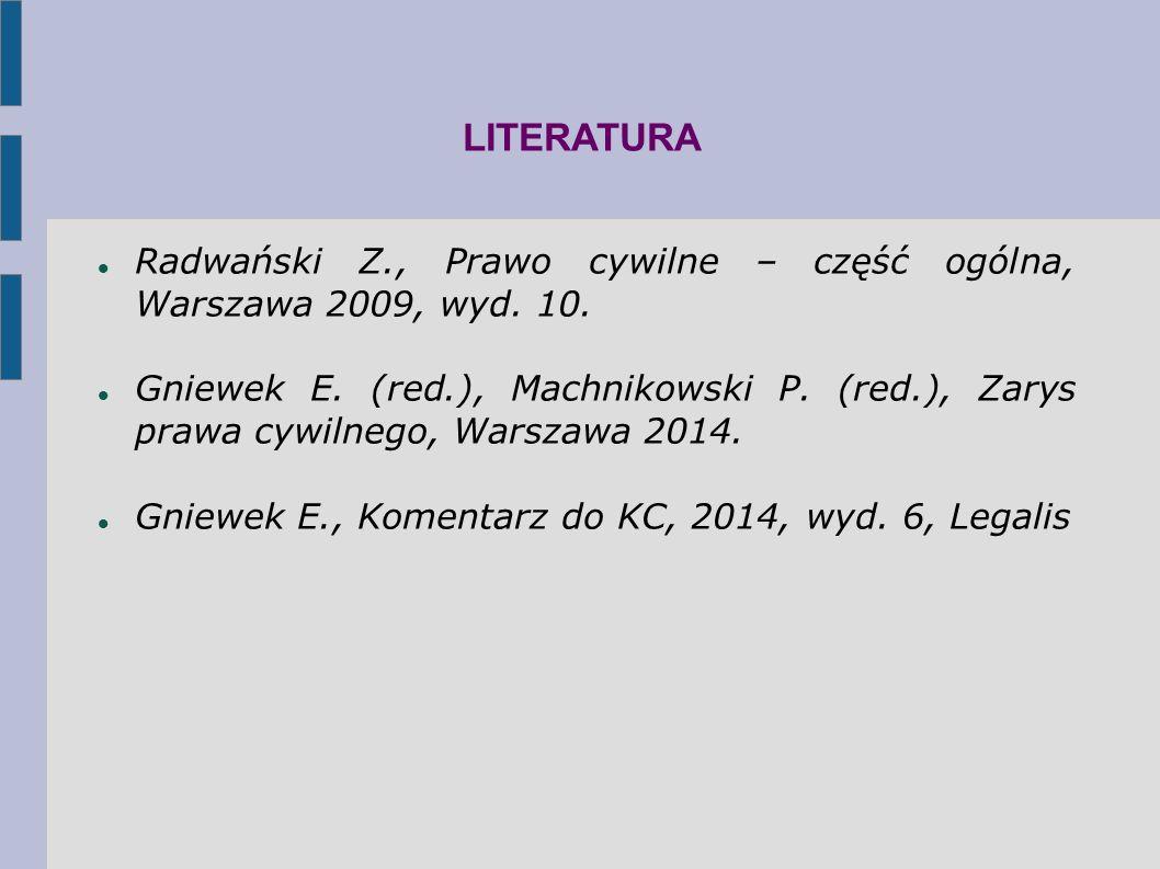 LITERATURA Radwański Z., Prawo cywilne – część ogólna, Warszawa 2009, wyd.