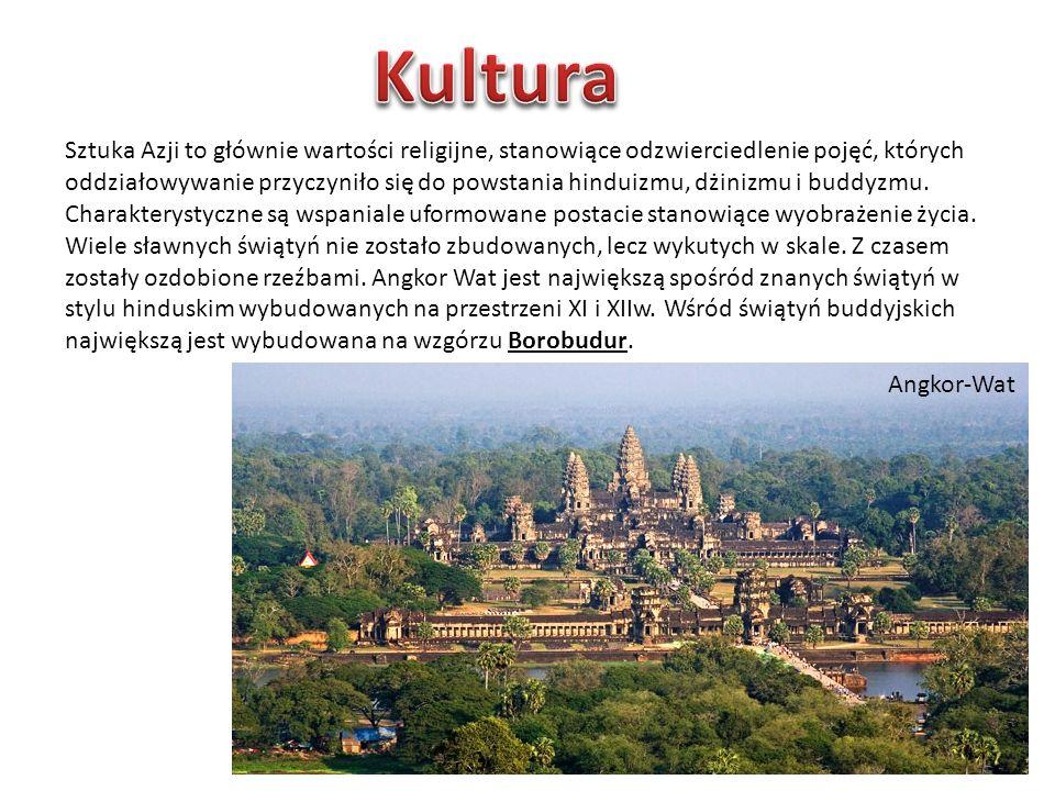 Sztuka Azji to głównie wartości religijne, stanowiące odzwierciedlenie pojęć, których oddziałowywanie przyczyniło się do powstania hinduizmu, dżinizmu i buddyzmu.