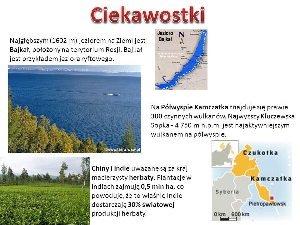 Najgłębszym (1602 m) jeziorem na Ziemi jest Bajkał, położony na terytorium Rosji.