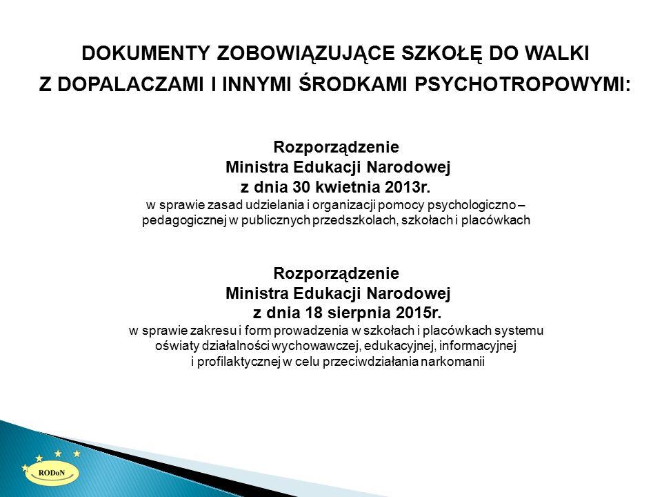 DOKUMENTY ZOBOWIĄZUJĄCE SZKOŁĘ DO WALKI Z DOPALACZAMI I INNYMI ŚRODKAMI PSYCHOTROPOWYMI: Rozporządzenie Ministra Edukacji Narodowej z dnia 30 kwietnia 2013r.