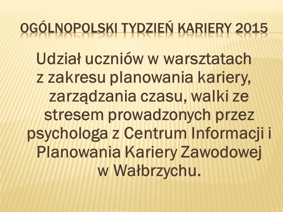 Udział uczniów w warsztatach z zakresu planowania kariery, zarządzania czasu, walki ze stresem prowadzonych przez psychologa z Centrum Informacji i Planowania Kariery Zawodowej w Wałbrzychu.