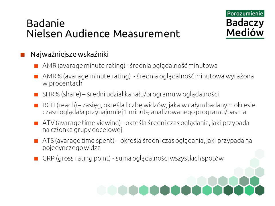 ■ Najważniejsze wskaźniki ■ AMR (avarage minute rating) - średnia oglądalność minutowa ■ AMR% (avarage minute rating) - średnia oglądalność minutowa wyrażona w procentach ■ SHR% (share) – średni udział kanału/programu w oglądalności ■ RCH (reach) – zasięg, określa liczbę widzów, jaka w całym badanym okresie czasu oglądała przynajmniej 1 minutę analizowanego programu/pasma ■ ATV (avarage time viewing) - określa średni czas oglądania, jaki przypada na członka grupy docelowej ■ ATS (avarage time spent) – określa średni czas oglądania, jaki przypada na pojedynczego widza ■ GRP (gross rating point) - suma oglądalności wszystkich spotów Badanie Nielsen Audience Measurement