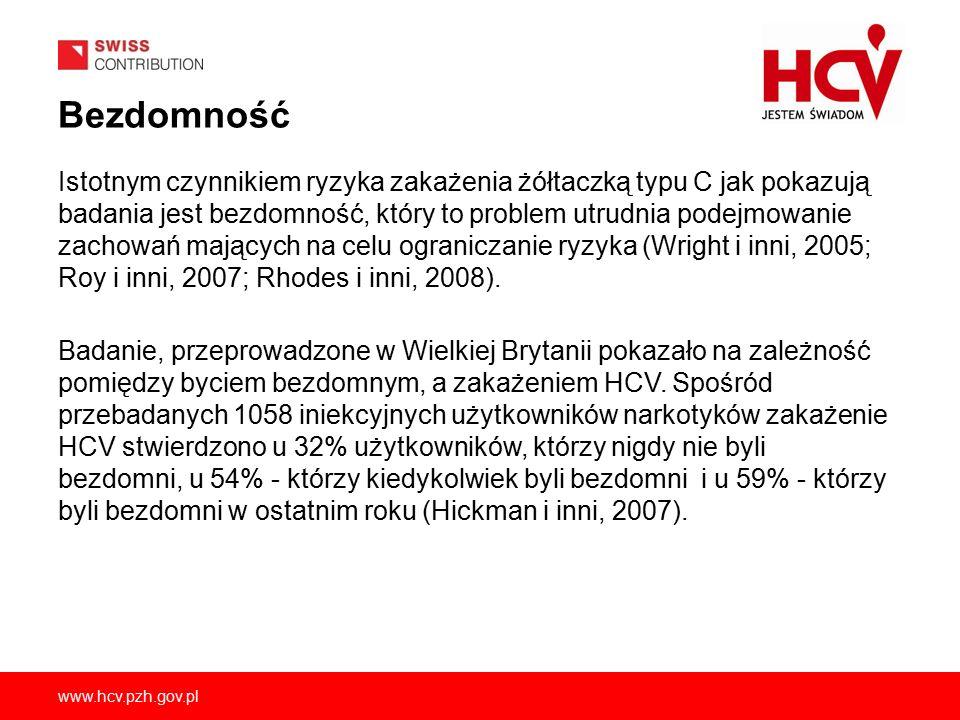 www.hcv.pzh.gov.pl Bezdomność Istotnym czynnikiem ryzyka zakażenia żółtaczką typu C jak pokazują badania jest bezdomność, który to problem utrudnia podejmowanie zachowań mających na celu ograniczanie ryzyka (Wright i inni, 2005; Roy i inni, 2007; Rhodes i inni, 2008).