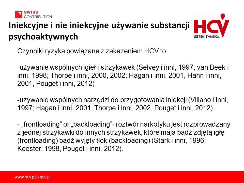 """www.hcv.pzh.gov.pl Czynniki ryzyka powiązane z zakażeniem HCV to: -używanie wspólnych igieł i strzykawek (Selvey i inni, 1997; van Beek i inni, 1998; Thorpe i inni, 2000, 2002; Hagan i inni, 2001, Hahn i inni, 2001, Pouget i inni, 2012) -używanie wspólnych narzędzi do przygotowania iniekcji (Villano i inni, 1997; Hagan i inni, 2001, Thorpe i inni, 2002, Pouget i inni, 2012) - """"frontloading or """"backloading - roztwór narkotyku jest rozprowadzany z jednej strzykawki do innych strzykawek, które mają bądź zdjętą igłę (frontloading) bądź wyjęty tłok (backloading) (Stark i inni, 1996; Koester, 1998, Pouget i inni, 2012)."""